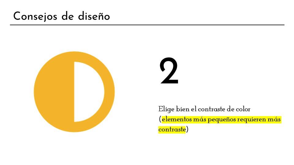 Consejo de diseño 2: elegir bien los contrastes, lo objetos pequeños necesitan más contraste