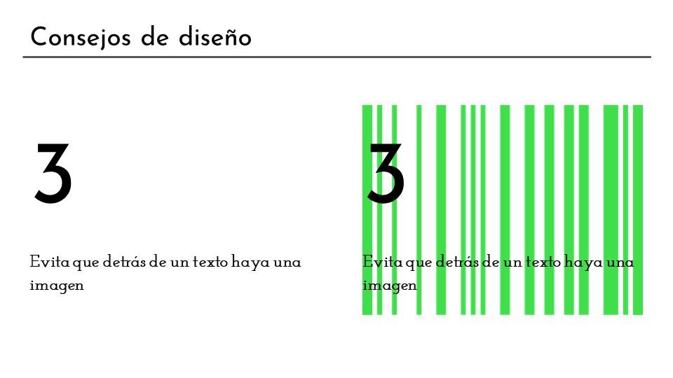 Consejo de diseño 3: evitar poner imágenes como fondo de textos