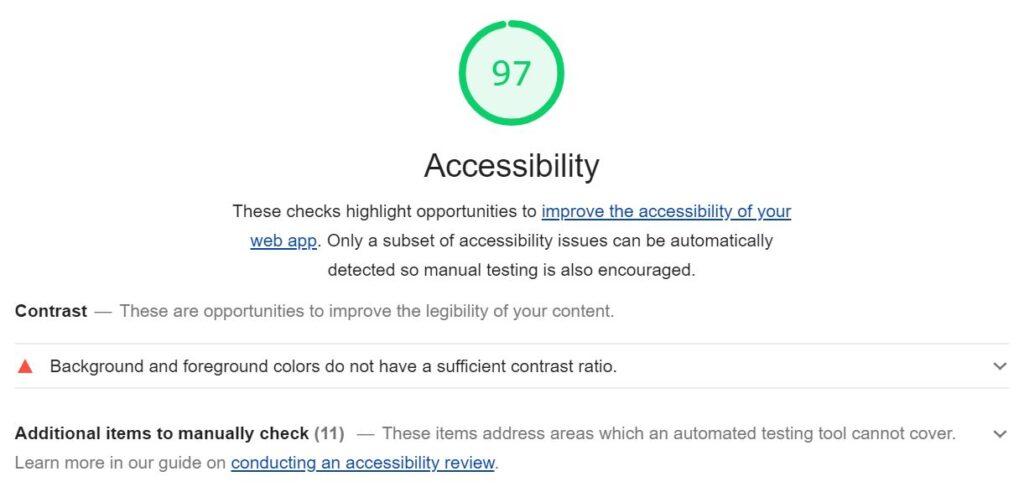 Captura de pantalla con el resultado de la auditoría de accesibilidad de una versión de Lighthouse anterior a 6.0. Resultado 97%, error detectado a nivel de contraste.