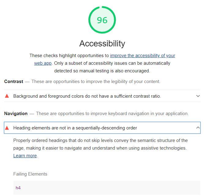 Captura de pantalla con el resultado de la auditoría de accesibilidad de Lighthouse 6.0. Resultado 96%, error detectado a nivel de contraste, error en  la jerarquía de los encabezados