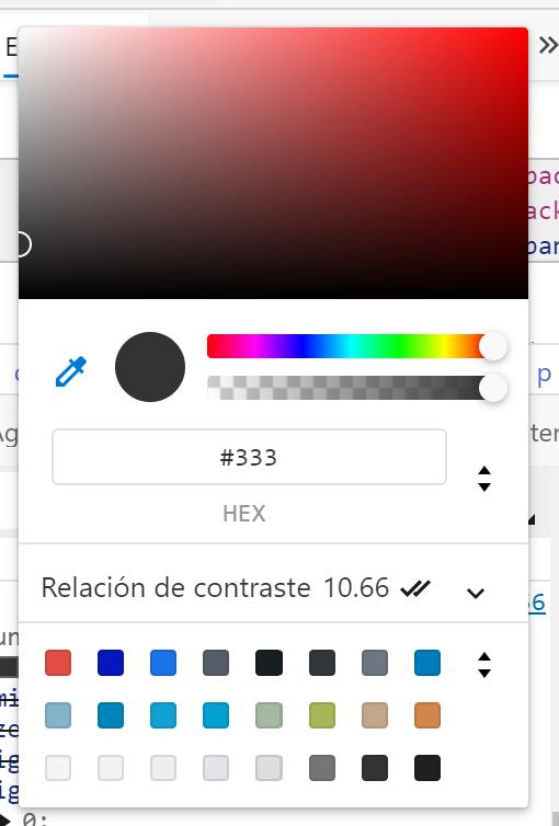 El selector de color de las herramientas para desarrolladores de Chrome